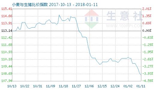 1月11日小麦与生猪比价指数图
